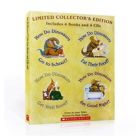 How Do Dinosaurs Collection (4 Books + 4 Audio CDs)【Age 0-5】- Boardbook